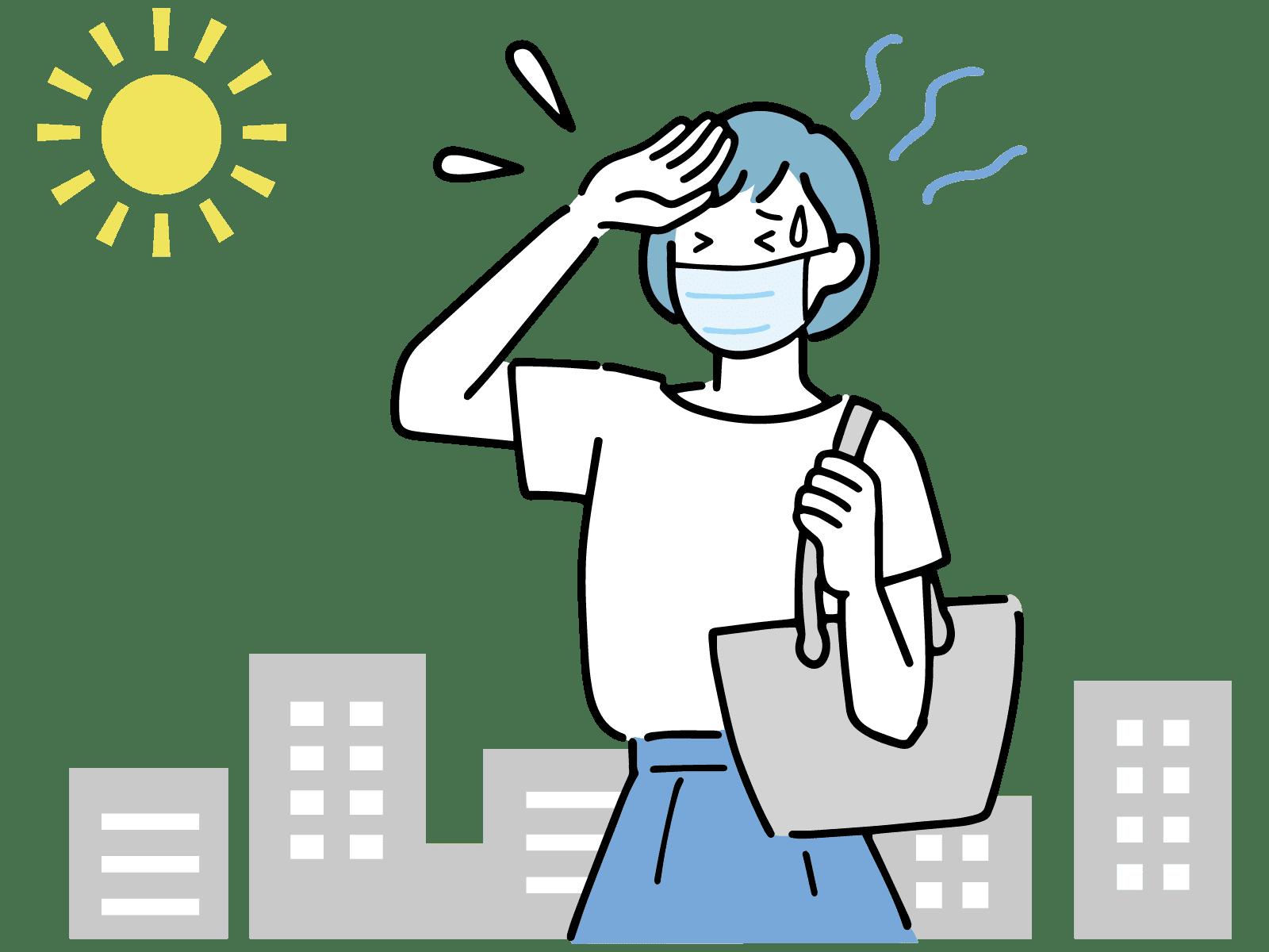 汗をかいているマスクをした女性のイラスト